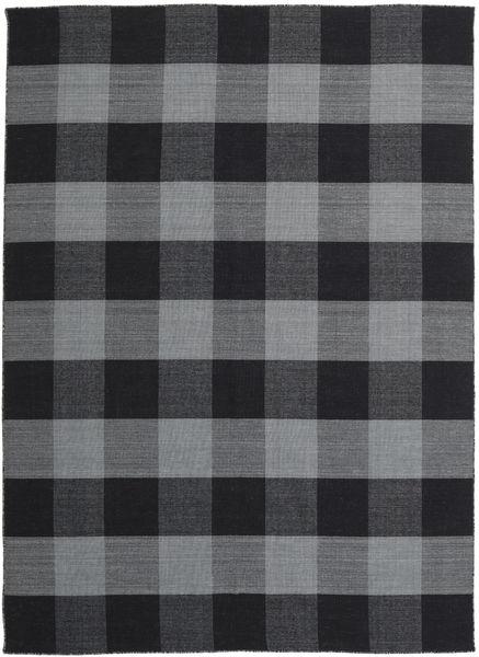 Check Kilim Matta 240X340 Äkta Modern Handvävd Mörkgrå/Svart (Ull, Indien)