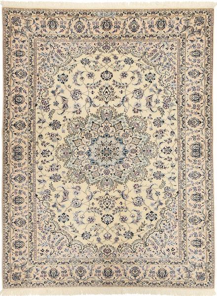 Nain 6La Habibian Matta 144X198 Äkta Orientalisk Handknuten Ljusgrå/Beige (Ull/Silke, Persien/Iran)