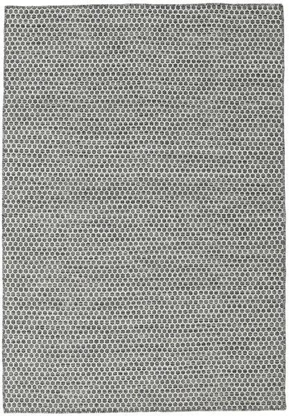 Kelim Honey Comb - Svart/Grå Matta 160X230 Äkta Modern Handvävd Ljusgrå/Mörkgrå (Ull, Indien)