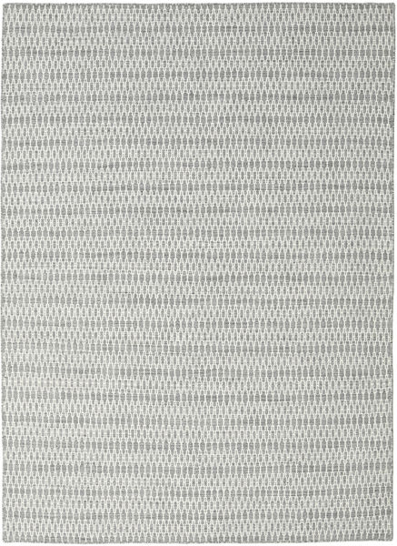 Kelim Long Stitch - Grå Matta 210X290 Äkta Modern Handvävd Ljusgrå/Turkosblå (Ull, Indien)