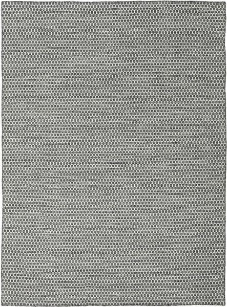 Kelim Honey Comb - Svart/Grå Matta 210X290 Äkta Modern Handvävd Ljusgrå/Turkosblå (Ull, Indien)