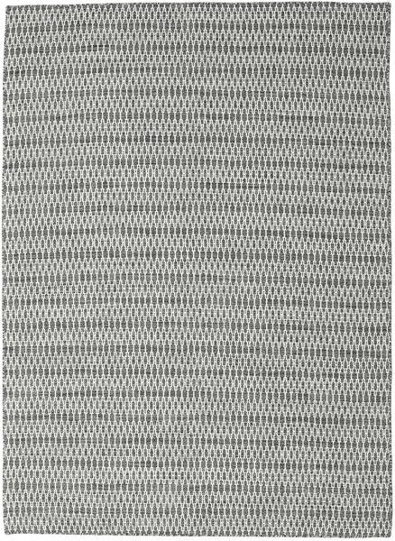 Kelim Long Stitch - Svart/Grå Matta 210X290 Äkta Modern Handvävd Ljusgrå/Turkosblå (Ull, Indien)