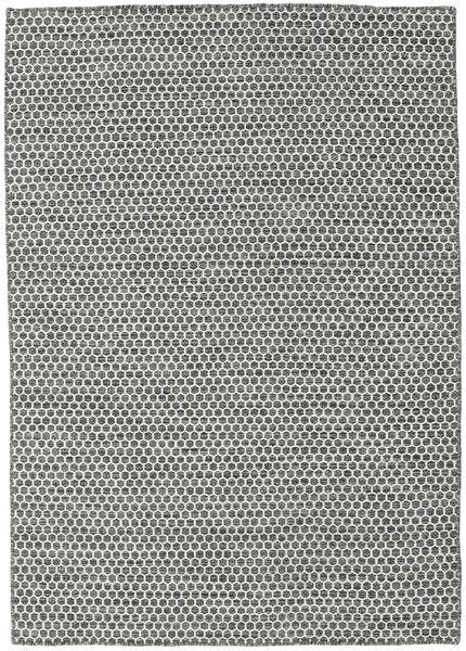 Kelim Honey Comb - Svart/Grå Matta 140X200 Äkta Modern Handvävd Ljusgrå/Mörkgrå (Ull, Indien)