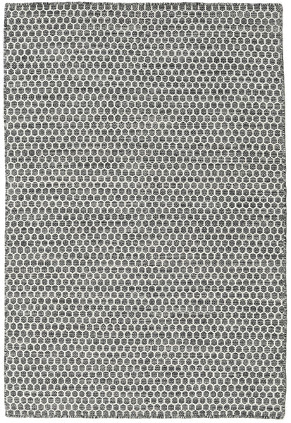 Kelim Honey Comb - Svart/Grå Matta 120X180 Äkta Modern Handvävd Ljusgrå/Mörkgrå (Ull, Indien)