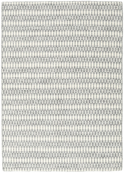 Kelim Long Stitch - Grå Matta 140X200 Äkta Modern Handvävd Ljusgrå/Vit/Cremefärgad (Ull, Indien)