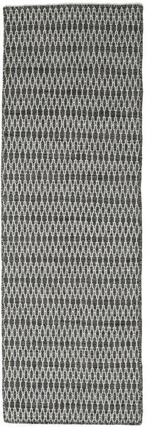 Kelim Long Stitch - Svart/Grå Matta 80X240 Äkta Modern Handvävd Hallmatta Mörkgrå/Ljusgrå (Ull, Indien)