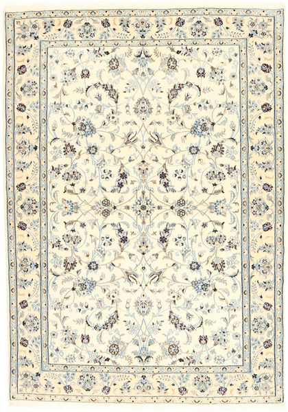 Nain 6La Matta 100X153 Äkta Orientalisk Handknuten Beige/Ljusgrå (Ull/Silke, Persien/Iran)