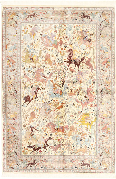 Ghom Silke Matta 140X211 Äkta Orientalisk Handknuten Beige/Gul (Silke, Persien/Iran)