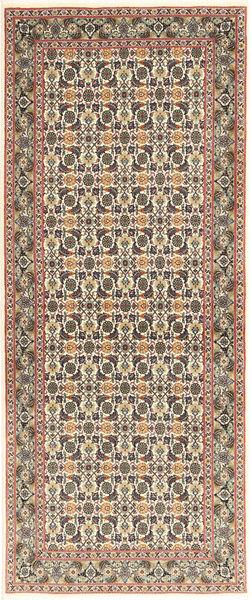 Tabriz 50 Raj Matta 82X205 Äkta Orientalisk Handknuten Hallmatta Ljusgrå/Beige (Ull/Silke, Persien/Iran)