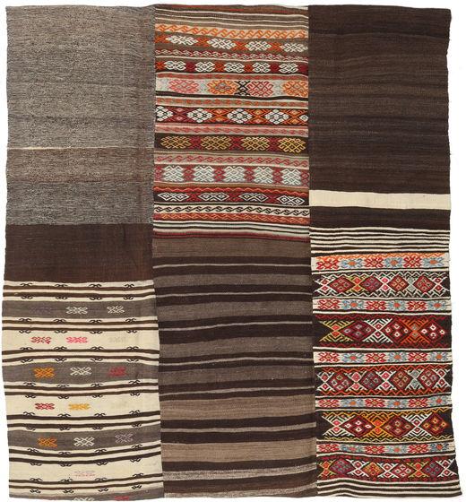 Kelim Patchwork Matta 204X227 Äkta Modern Handvävd Mörkbrun/Mörkröd (Ull, Turkiet)