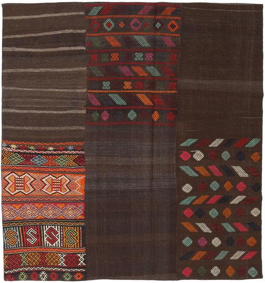 Kelim Patchwork Matta 206X217 Äkta Modern Handvävd Kvadratisk Mörkbrun (Ull, Turkiet)
