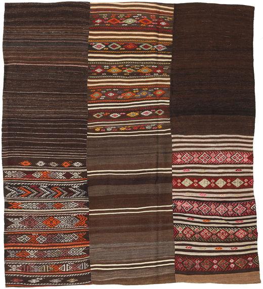Kelim Patchwork Matta 204X230 Äkta Modern Handvävd Mörkbrun (Ull, Turkiet)