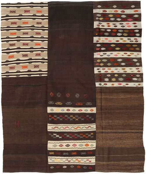 Kelim Patchwork Matta 208X253 Äkta Modern Handvävd Mörkbrun/Beige (Ull, Turkiet)