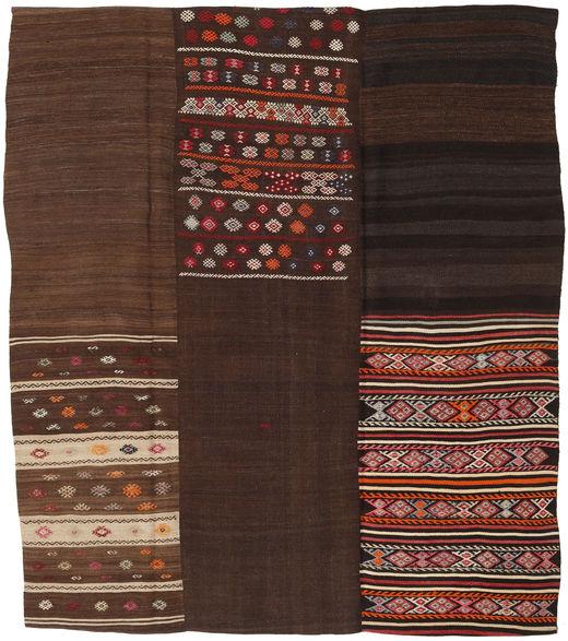 Kelim Patchwork Matta 217X250 Äkta Modern Handvävd Mörkbrun/Mörkröd (Ull, Turkiet)