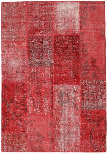 Patchwork Matta 162X234 Äkta Modern Handknuten Mörkröd/Röd/Roströd (Ull, Turkiet)