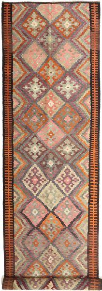 Kelim Fars Matta 158X830 Äkta Orientalisk Handvävd Hallmatta Mörkröd/Ljusbrun (Ull, Persien/Iran)