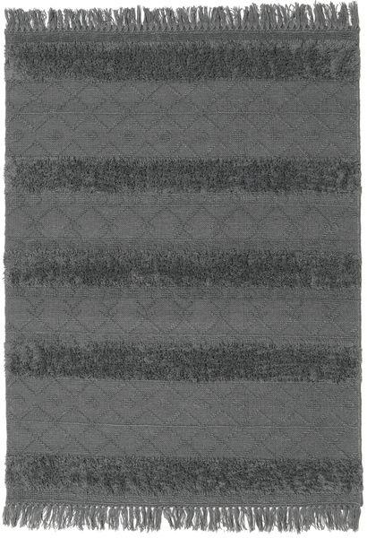 Kelim Berber Ibiza - Mjukt Grå Matta 140X200 Äkta Modern Handvävd Svart/Blå (Ull, Indien)