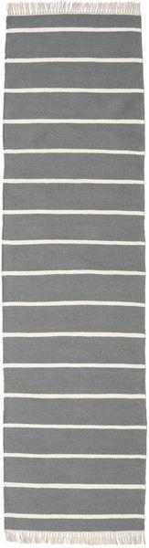 Dorri Stripe - Grå Matta 80X300 Äkta Modern Handvävd Hallmatta Ljusgrå/Mörkgrå (Ull, Indien)