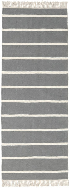 Dorri Stripe - Grå Matta 80X200 Äkta Modern Handvävd Hallmatta Ljusgrå/Mörkgrå (Ull, Indien)