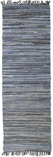 Sonja Mix - Denim/Jute Matta 80X250 Äkta Modern Handvävd Hallmatta Mörkgrå/Ljusblå (Jutematta Indien)