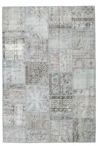 Patchwork Matta 159X232 Äkta Modern Handknuten Turkosblå/Ljusgrå (Ull, Turkiet)