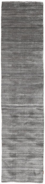 Bambu Grass - Black_ Grå Matta 80X340 Modern Hallmatta Ljusgrå/Mörkgrå (Ull/Bambusilke, Indien)