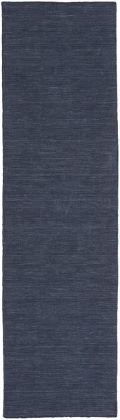 Kelim Loom - Denim Blå Matta 80X300 Äkta Modern Handvävd Hallmatta Mörkblå/Blå (Ull, Indien)