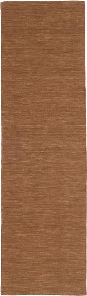 Kelim Loom - Brun Matta 80X300 Äkta Modern Handvävd Hallmatta Brun (Ull, Indien)
