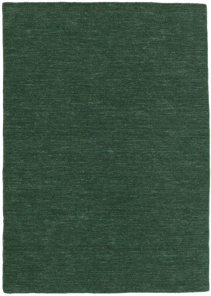 Kelim Loom - Skogsgrön Matta 160X230 Äkta Modern Handvävd Mörkgrön (Ull, Indien)