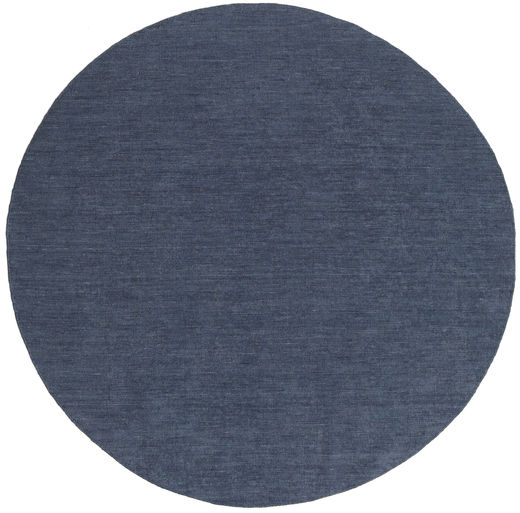 Kelim Loom - Denim Blå Matta Ø 200 Äkta Modern Handvävd Rund Blå (Ull, Indien)