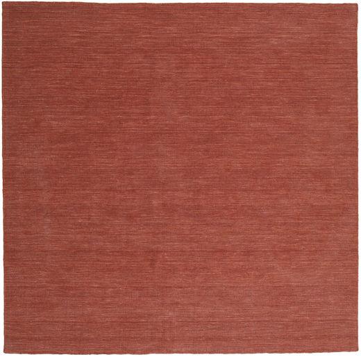 Kelim Loom - Rost Matta 250X250 Äkta Modern Handvävd Kvadratisk Mörkröd Stor (Ull, Indien)