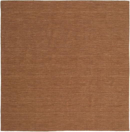 Kelim Loom - Brun Matta 250X250 Äkta Modern Handvävd Kvadratisk Brun Stor (Ull, Indien)