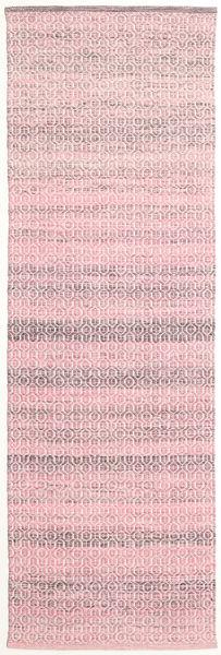 Alva - Rosa/Vit Matta 80X250 Äkta Modern Handvävd Hallmatta Ljusrosa/Ljuslila (Ull, Indien)