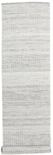 Alva - Grå/Vit Matta 80X350 Äkta Modern Handvävd Hallmatta Ljusgrå/Vit/Cremefärgad (Ull, Indien)