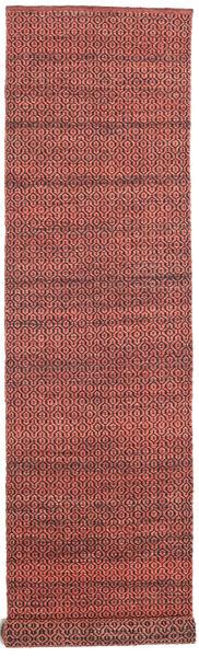 Alva - Dark_Rust/Svart Matta 80X350 Äkta Modern Handvävd Hallmatta Mörkröd/Mörkbrun (Ull, Indien)