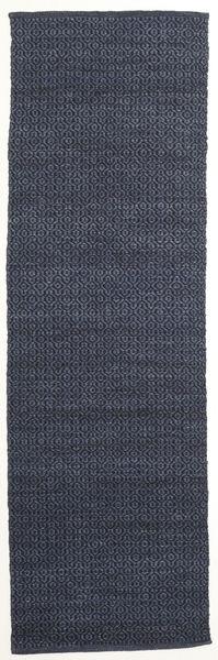 Alva - Blå/Svart Matta 80X250 Äkta Modern Handvävd Hallmatta Mörkblå/Lila (Ull, Indien)