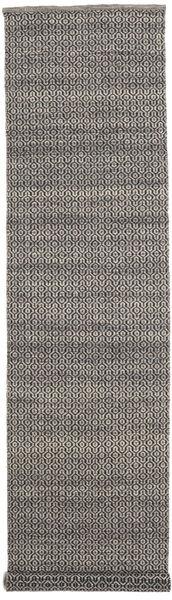 Alva - Brun/Svart Matta 80X350 Äkta Modern Handvävd Hallmatta Mörkgrå/Ljusgrå (Ull, Indien)