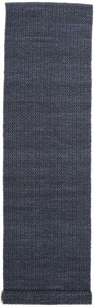Alva - Blå/Svart Matta 80X350 Äkta Modern Handvävd Hallmatta Mörkblå/Lila (Ull, Indien)