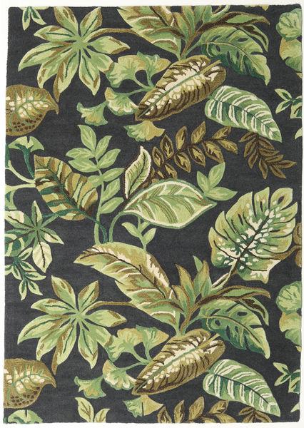 Jungel - Grön/Svart Matta 160X230 Modern Mörkgrön/Ljusgrön/Mörkgrå (Ull, Indien)