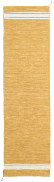 Ernst - Senap/Naturvit Matta 80X300 Äkta Modern Handvävd Hallmatta Ljusbrun (Ull, Indien)