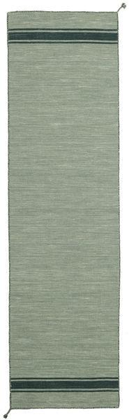 Ernst - Grön/Mörk _Green Matta 80X400 Äkta Modern Handvävd Hallmatta Ljusgrön/Mörkgrå (Ull, Indien)