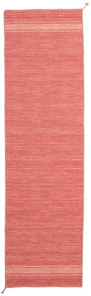 Ernst - Coral/Light_Coral Matta 80X300 Äkta Modern Handvävd Hallmatta Röd/Ljusrosa (Ull, Indien)