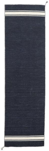 Ernst - Navy/Naturvit Matta 80X400 Äkta Modern Handvävd Hallmatta Mörkblå (Ull, Indien)