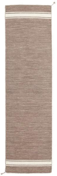 Ernst - Ljusbrun/Naturvit Matta 80X400 Äkta Modern Handvävd Hallmatta Ljusgrå (Ull, Indien)