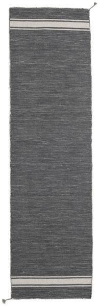 Ernst - Mörkgrå/Ljusbeige Matta 80X300 Äkta Modern Handvävd Hallmatta Mörkgrå (Ull, Indien)