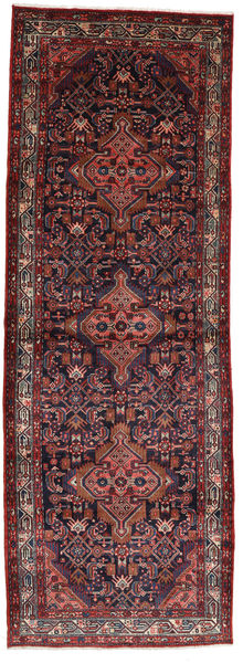 Asadabad Matta 112X320 Äkta Orientalisk Handknuten Hallmatta Mörkröd/Mörkbrun (Ull, Persien/Iran)