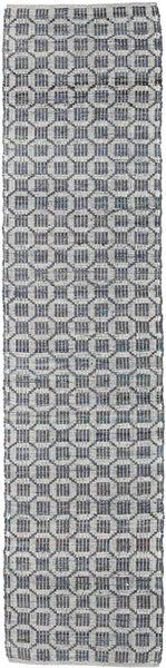 Elna - Grå Matta 80X250 Äkta Modern Handvävd Hallmatta Ljusgrå/Lila (Bomull, Indien)