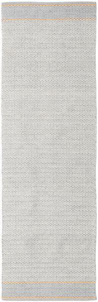 Norma - Gul Matta 80X350 Äkta Modern Handvävd Hallmatta Ljusgrå/Vit/Cremefärgad (Bomull, Indien)