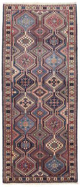 Yalameh Matta 80X194 Äkta Orientalisk Handknuten Hallmatta Mörkgrå/Mörkröd (Ull, Persien/Iran)