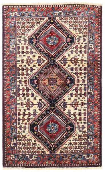 Yalameh Matta 103X170 Äkta Orientalisk Handknuten Mörklila/Mörkröd (Ull, Persien/Iran)